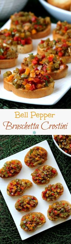 Bell Pepper Bruschetta Crostini is a crowd pleasing appetizer that works perfectly for elegant dinners, holidays and game day. Makes a great dip too!