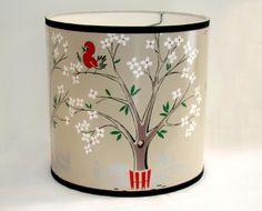 Vintage Wallpaper Drum Shade 1950's Birds and Blooms. $60.00, via Etsy.