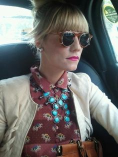 Gretchen Jones wearing R+G Squash Blossom Necklace and Silver Stud Earring from rubyplusgeorge.com for NYFW S/S2012