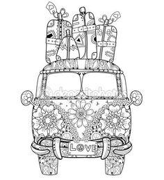 Hand drawn doodle outline retro bus travel — Stock Illustration #102772852
