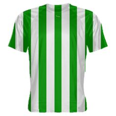 Kelly+Green+and+White+Striped+Soccer+Jersey