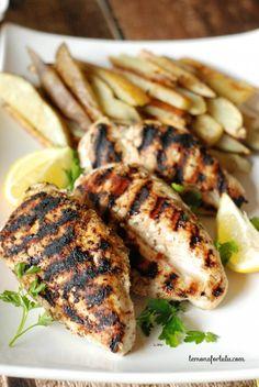 Grilled Chicken breast coated in Jamaican Jerk seasoning #ad @McCormickSpice www.lemonsforlulu.com