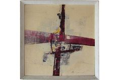 """Dynamic 1950s abstract painting. Signed """"B. Beaugeard"""" lower right. Label on verso, Cuckfield Gallery and Studios, Sussex, England; 19″L × 1″W × 19″H."""