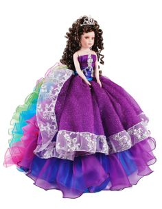 Doll with multi color dress in rainbow colors for quinceanera Quinceanera Decorations, Quinceanera Dresses, Quinceanera Ideas, Sweet 15, Sweet Sixteen, Dress First, Rainbow Colors, Aurora Sleeping Beauty, Dolls