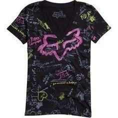 Fox Racing Womens Day Dream V Neck T Shirt   Medium/Black