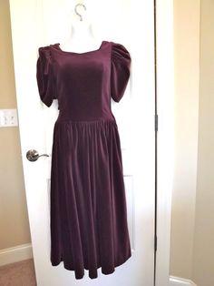Perfect Laura Ashley Princess Dress in Purple Cotton Velvet