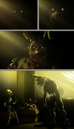 SPRINGTRAP SNAP OUT OF IT!!!! DON'T LISTEN TO PURPLE GUY!!!!!!!!!!!!!!!!!!! YOU'RE A GOOD ANIMATRONIC DON'T LET HIM CONTROL YOU!!!! (Springtraps sorrow gave me this theory)