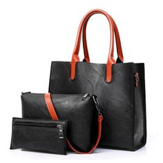 aaab1febc3 Black with Brown Handle 3 PCs Set PU Leather Ladies Hand Bags - High Street