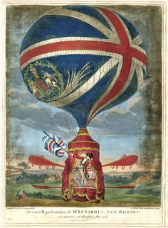 1784 An exact representation of Mr Lunardi's New Balloon as it ascended with himself 13 May 1785 Pub by Carrington Bowles, London. - Italian hot air balloonist Vincenzo Lunardi, commonly referred to as Vincent Lunardi, took off from the Honourable Artillery Company grounds, at Moorfields, London on 19 September 1784 to make the first manned, free floating balloon flight in English skies.