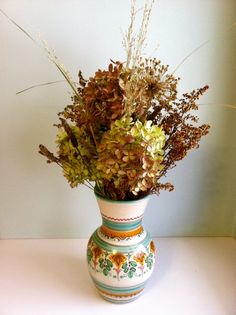 What can you do when there is snow in your flower garden? I found this vase yesterday and thought it complemented my kitchen so I bought it and put a bunch of stuff I had in the basement in it. Never have to water this! Contents: dried hydrangea, dried goldenrod, various field grasses and seed heads, and dried allium.