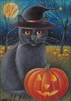 Black Cat Halloween Painting Halloween Painting, Halloween Prints, Halloween Cat, Halloween Themes, Vintage Halloween, Happy Halloween, Halloween Friday The 13th, Black Cat Art, Black Cats