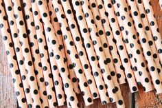 Light PINK & BLACK Swiss Polka Dots paper straws by rikyandnina