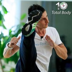10 exerciții care îți vor lucra tot corpul din cap până în picioare! Flexii, extensii, crunch-uri, bricege… și asta nu e tot!    Ritmul susținut pe care îl impune Ionuț, face din Total Body programul perfect pentru o condiție fizică de invidiat.