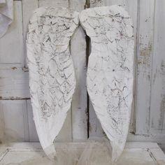 Ailes d'ange vintage de mur temps de mache minable papier énorme à la main décor usé de personnes âgées en Difficulté décoration nordique Français par anita spero