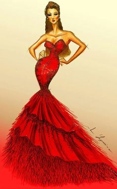 Red dress - fashion illustration