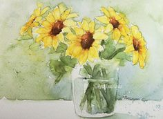 Watercolor painting of sunflowers in glass by RoseAnn Hayes, prints are available in Etsy shop.
