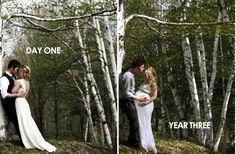 this couple returned to the spot where their wedding photos were taken to capture another milestone photo-ideas