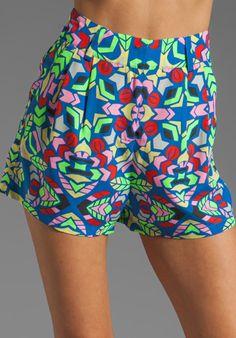 MARA HOFFMAN Printed High Waisted Shorts in Aloha Sky
