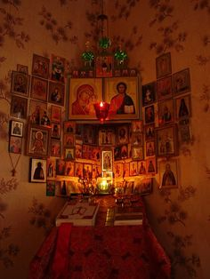 """dramoor: """"""""Orthodox Christians are not religious people. We are sick people who seek physical and spiritual wellness so that we may be in the fullness of health as we were before the 'fall'. We strive. Orthodox Prayers, Orthodox Christianity, Religious Icons, Religious Art, Religious People, Catholic Altar, Prayer Corner, Home Altar, Christian Art"""