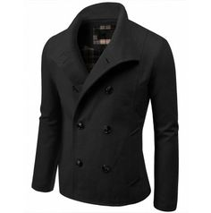 Mens Coat Casual Double Breasted Wool Jacket (GA06:DOUBLJU)