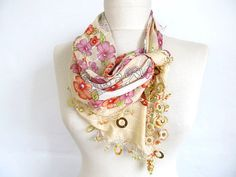cotton scarf  scarfs or scarves turkish scarves  Oya by asuhan, $21.00