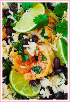 Cilantro-Lime Black Bean Shrimp and Rice – easy, light dinner, with so much flavor! Prep takes only 10 minutes, you cook everything in one pan (about 30 minutes total), and the cleanup is really minim by gena Shrimp And Rice Recipes, Seafood Recipes, Cooking Recipes, Dinner Recipes, Keto Recipes, Fall Recipes, Pasta Recipes, Skillet Recipes, Healthy Recipes