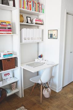 Minimalist Living: All white desk accessories keep things clean-looking.