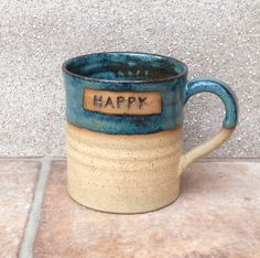 Coffee Mug Tea Cup Happy Wheel Thrown Stoneware Pottery by Caractacus Pots on Gourmly