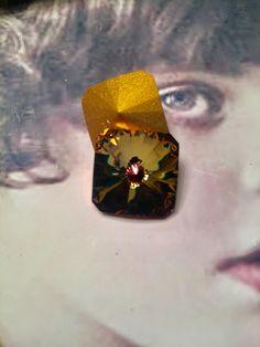Vintage Swarovski 18mm Tabac Square Rivoli Crystal 7365TOP x2 by dimestoreemporium on Etsy