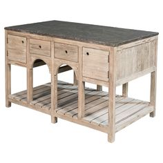 Henrietta Rustic Lodge Reclaimed Pine Stone Top 4 Drawer Kitchen Island | Shop Home Decor | Art & Home  ||  The Henrietta Rustic Lodge Reclaimed Pine Stone Top 4 Drawer Kitchen Island from Kathy Kuo Home will become an extraordinary addition to your home. Part of Art & Home's extensive Buffets, Sideboards & Credenzas collection. Rustic Kitchen Island, Rustic Kitchen Design, Kitchen Decor, Kitchen Islands, Kitchen Ideas, Reclaimed Kitchen, Rustic Kitchens, Diy Kitchens, Kitchen Trolley