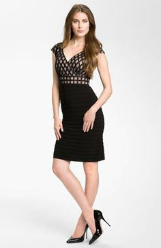 Adrianna Papell 'Net' Shutter Pleat Sheath Dress available at #Nordstrom