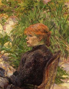 Red Haired Woman Seated in the Garden of M. Forest, 1889  Henri de Toulouse-Lautrec