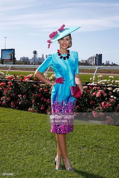 @stacie_kidner in @millineryjill hat, Melbourne Cup Day at Flemington Racecourse on November 3, 2015 in Melbourne, Australia.