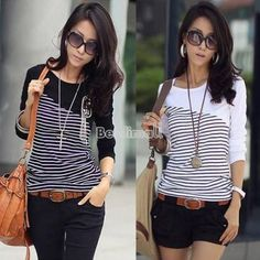 Womens T Shirt Casual Cotton Tops Stripe Long Sleeve Tee Blouse Top 3 Colors BE0 | eBay