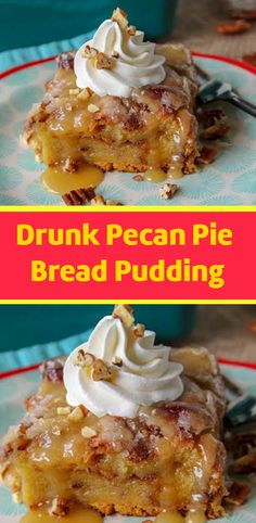 Drunk Pecan Pie Bread Pudding ♥ Don't lose this delicious recipe, save it for later ♥ No Bake Desserts, Just Desserts, Delicious Desserts, Yummy Food, Pudding Recipes, Cake Recipes, Dessert Recipes, Bread Recipes, Pecan Pie Bread Pudding