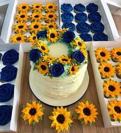 Everything piped in buttercream. If you would like to learn how to pipe beautiful buttercream flowers then the link in my bio will take you… Beautiful Cakes, Amazing Cakes, Cake Cookies, Cupcake Cakes, Bolos Naked Cake, Sunflower Cupcakes, Sunflower Birthday Cakes, Blue Cakes, Buttercream Flowers