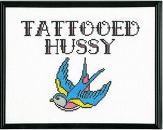 Tattooed Hussy Cross Stitch. $50.00, via Etsy.