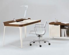 Furniture. Amazing Modern Hardwood Desk To Ease Your Workflow By Artifox: Modern White And Brown Hardwood Desk Design With High Feets And Cool White Standing Lamp Stainless Work Chair With Arm Chair Design White And Brown Bookshelf Design With Cramic ~ wegli