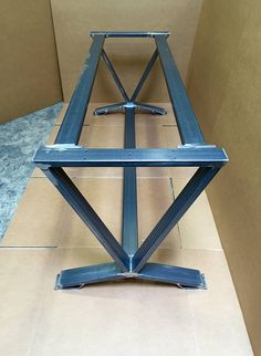 V-Shaped Dining Table Base, Super Heavy Duty Industrial Table Base, Set of 2 Legs and 3 Cross Braces This steel table base will not ship assembled! The cross bars will be bolted! We are making the holes with threads and will provide the bolts. Assembly is required from You! Very