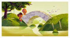 Kids, bridge, butterflyes. Annette Marnat