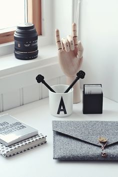 New Apartment Idea: black and white desk accessories.