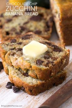 Chocolate Chip Zucchini Banana Bread is the most delicious way to enjoy your ripe bananas and garden fresh zucchini! Packed with fruit, veggies and luscious chocolate chips, this is one recipe you can feel good about making and sharing. Chocolate Chip Zucchini Bread, Easy Banana Bread, Banana Zucchini Muffins, Zucchini Bread Recipes, Banana Bread Recipes, Fruit Recipes, Biscotti, Zucchini, Recipes