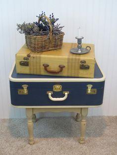 Reserved For Junellyn Blue Vintage Suitcase Table Recycled  Side Table, Coffee  Table With Storage, Keys Included