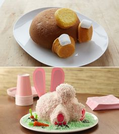 BUNNY BUTT CAKE....absolutely ADORABLE and so easy to make using a round cake & cupcakes!
