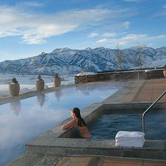 Brides.com: . 9. Amangani, Jackson Hole, Wyoming If there's a chicer place to ski and be seen, we haven't seen it. In winter, steam rises from the heated outdoor pool, making your après-snowboarding views of the snow-peaked Grand Tetons that much more mysterious. In summer, sign up for one of the resort's safaris, so you can spy on the area's flora and fauna, including moose, bison, and bald eagles. No wonder they call it the Wild West; Amangani.