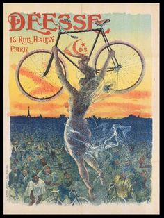 POSTER DEESSE FRENCH BICYCLE GODDESS LIFTING LIGHT BIKE VINTAGE REPRO FREE S//H