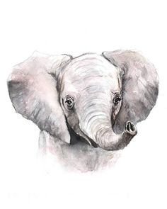 Baby Elephant Watercolor Print Art print Nursery Art | Etsy