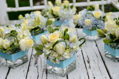 small spring centerpieces | Small Blue Themed Centerpieces | Precious Pear Wedding Floral Designs