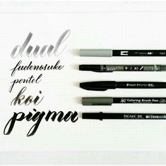 comparison of five calligraphy brush pens - Pieces Calligraphy modern calligraphy hand lettering brush lettering Caligraphy Pen, Brush Pen Calligraphy, Calligraphy Tools, Calligraphy Letters, Penmanship, Brush Lettering, Modern Calligraphy, Chalk Lettering, Chinese Calligraphy