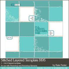 Stitched Layered Template No. 06 - Digital Scrapbooking Templates - Katie Pertiet